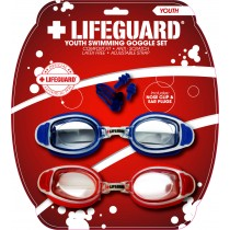 Youth Lifeguard Goggle 2 Pack w/Nose Clip & Ear Plugs