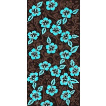 Hawaiian Flowers Brown Turquoise