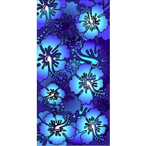 Hawaiian Flowers Blue Turquoise